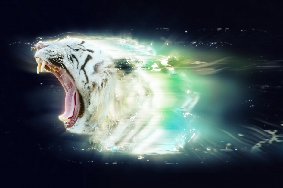 White tiger with open jaws, abstract animal concept